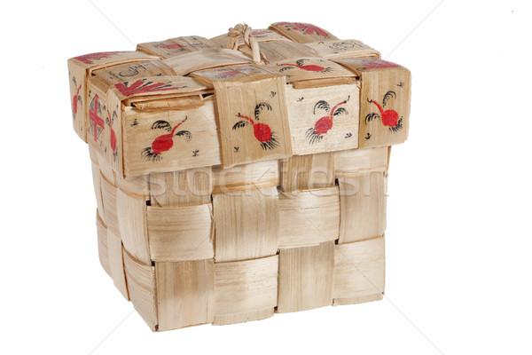 Orosz fából készült teríték kézzel készített konténer izolált Stock fotó © user_9834712