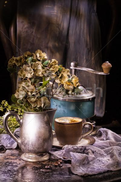 Foto stock: Edad · café · molino · flores · taza · vintage