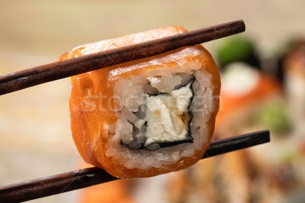 Japán szusi asztal különböző hagyományos étel Stock fotó © user_9834712