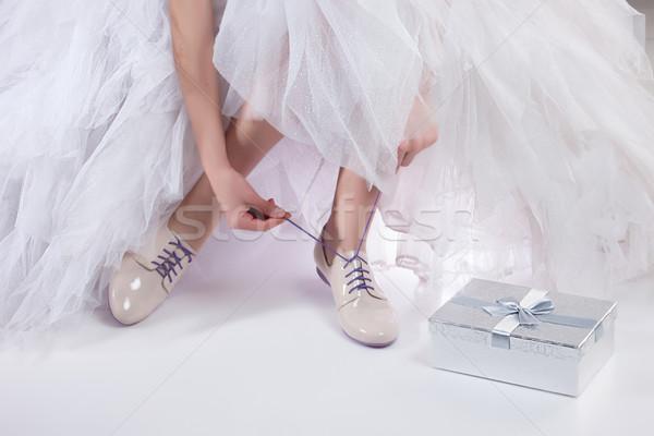 Lábak esküvői ruha stúdió kéz nők doboz Stock fotó © user_9834712