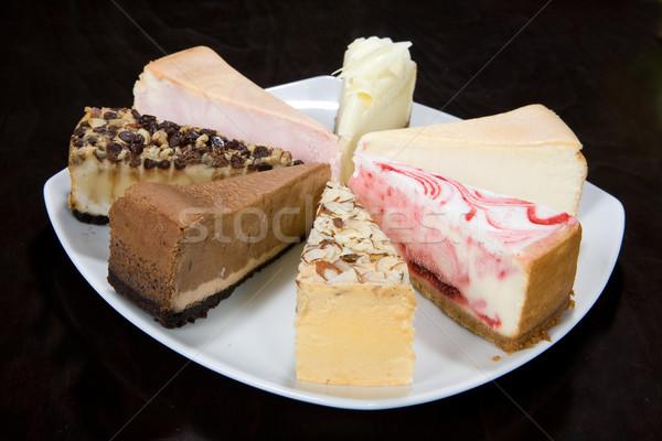Piezas torta mesa de cocina alimentos dulces placa Foto stock © user_9834712