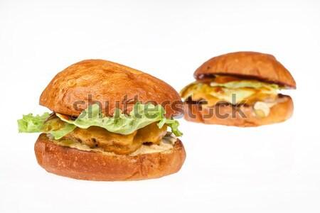 Kettő hamburgerek izolált stúdió zöld kenyér Stock fotó © user_9834712