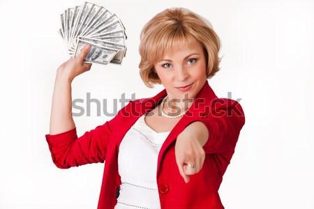 Vrouw geld jonge vrouw bos dollar bankbiljetten Stockfoto © user_9834712