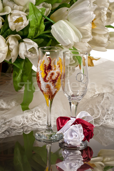 Borospoharak üveg virágok virág terv háttér Stock fotó © user_9834712