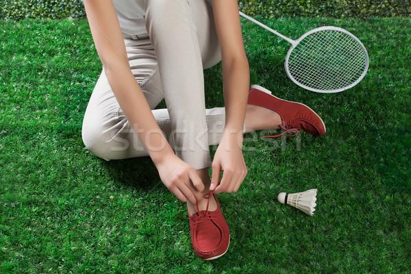 Bacaklar badminton yeşil ot kadın çim Stok fotoğraf © user_9834712