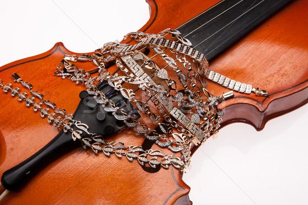 Dourado violino metal beleza anel Foto stock © user_9834712