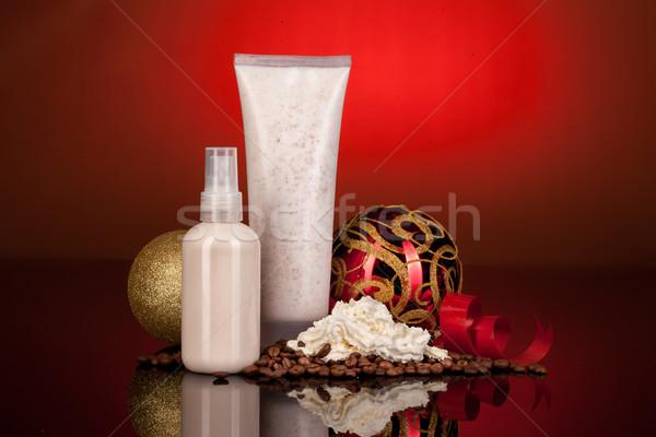 Kozmetikai krém új év golyók kávé üveg Stock fotó © user_9834712