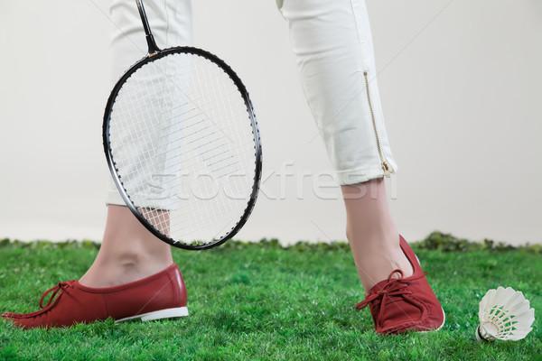 Pernas badminton grama verde mulher grama Foto stock © user_9834712