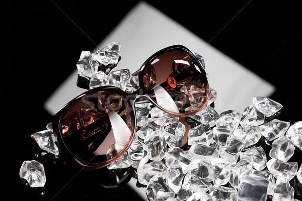 Napszemüveg jég darabok fekete üveg divat Stock fotó © user_9834712