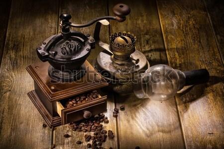 Kahve değirmen eski ahşap masa ışık Stok fotoğraf © user_9834712