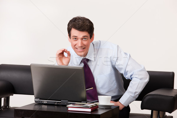 Stock fotó: Fiatalember · számítógép · fiatal · üzletember · dolgozik · izolált