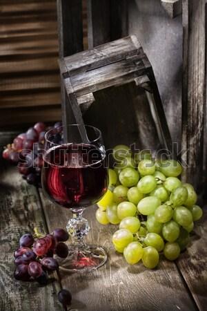 ブドウ ワイン ガラス 古い 木製 デスク ストックフォト © user_9834712