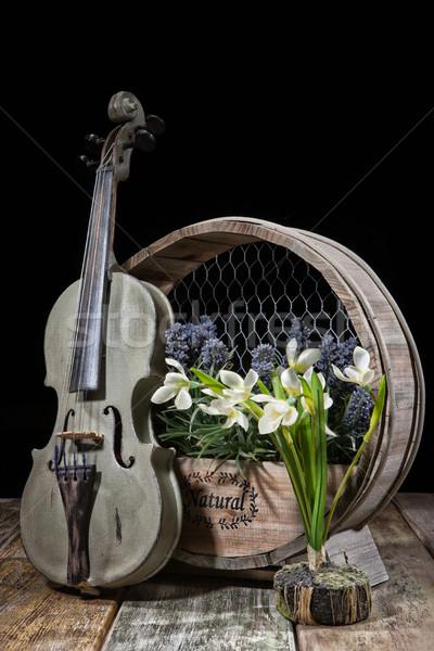 バイオリン 花 古い 木製 スタジオ 背景 ストックフォト © user_9834712