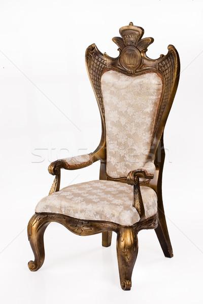 Oude troon witte fauteuil geïsoleerd hout Stockfoto © user_9834712