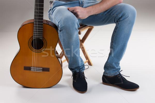 Foto stock: Piernas · guitarra · estudio · música · fondo · hombres