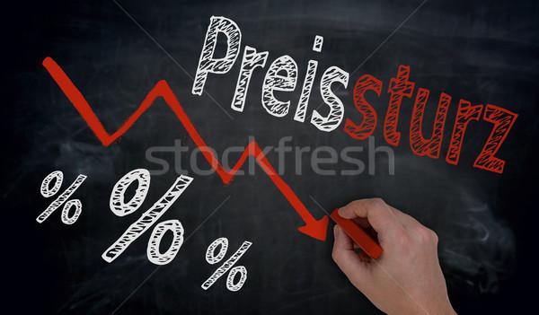 Preissturz (in german price fall) is written by hand on blackboa Stock photo © user_9870494