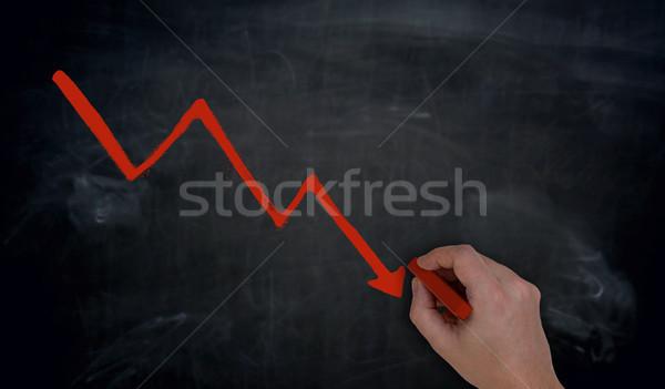 Graph is written by hand on blackboard Stock photo © user_9870494