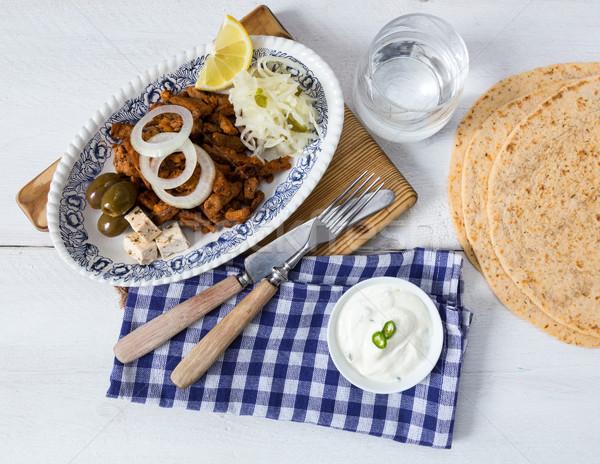 Koolsla olijven vlees citroen ui Stockfoto © user_9870494