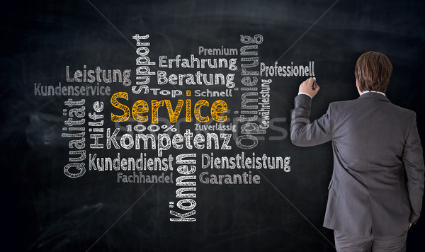 Stock photo: Businessman writes service (in german Competence, consulting) cl