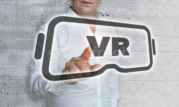 Virtueel realiteit icon matrix zakenman business Stockfoto © user_9870494