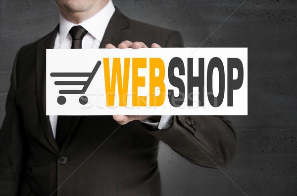 Webshop felirat üzletember öltöny tányér bolt Stock fotó © user_9870494