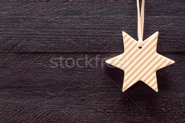 Christmas card with star on vintage wood Stock photo © user_9870494
