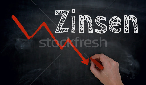 Zinsen (in german Interest) and graph is written by hand on blac Stock photo © user_9870494