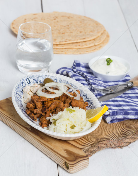 Gyros with Tzatziki Coleslaw olives and feta cheese Stock photo © user_9870494