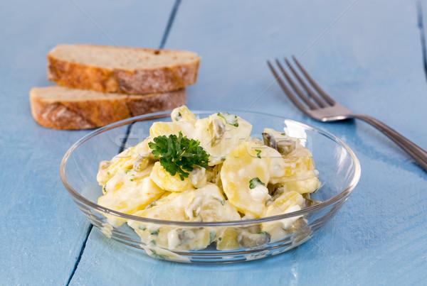 картофельный салат стекла чаши древесины синий Сток-фото © user_9870494