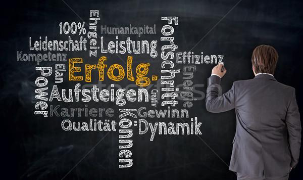 Businessman writes Erfolg, Aufsteigen, Fortschritt (in german su Stock photo © user_9870494