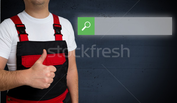 Browser is shown by artisan concept Stock photo © user_9870494