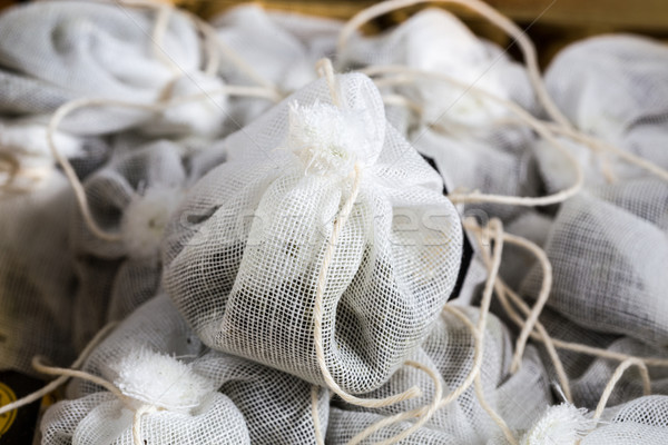 Tea bag made of fabric in a box Stock photo © user_9870494