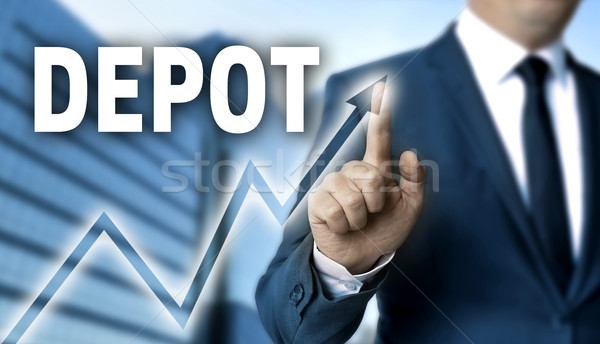 Depot touchscreen is operated by businessman Stock photo © user_9870494