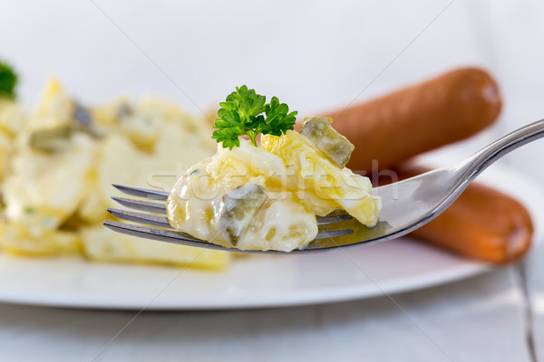 Sausages with mustard and potato salad Stock photo © user_9870494