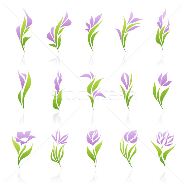 Flowers. Vector logo template set. Elements for design. Icon set. Stock photo © ussr