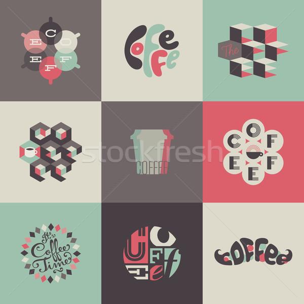 Stok fotoğraf: Kahve · etiketler · ayarlamak · dizayn · elemanları · restoran