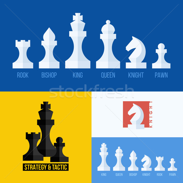 Modern flat set of chess icons. Chess pieces including king, queen, bishop, knight, rook, pawn Stock photo © ussr