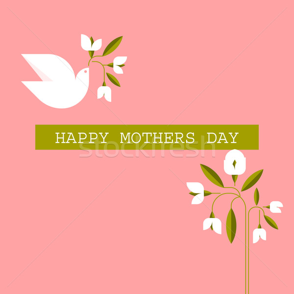 Pastel colored Mothers day cards with dove, spring flowers and greeting text message Stock photo © ussr