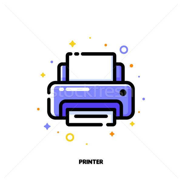 Ikon nyomtató irodai munka skicc stílus pixel Stock fotó © ussr