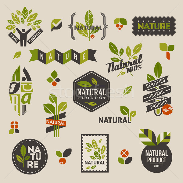 Stockfoto: Badges · groene · bladeren · ingesteld · vector · ontwerp