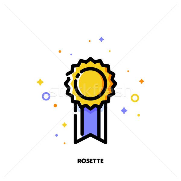 Icon of elegant golden rosette for success or winner concept Stock photo © ussr