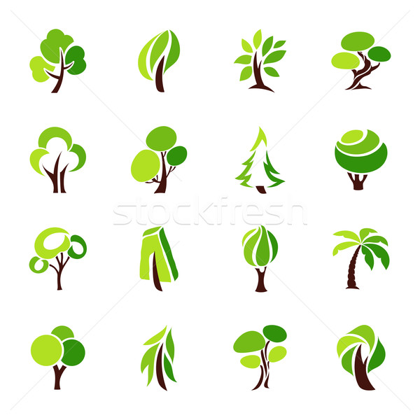 Stock photo: Trees. Vector logo template set.