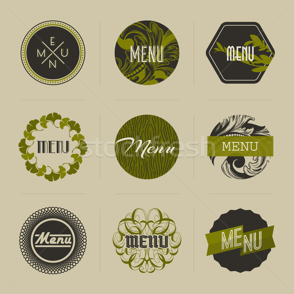 Elegant nature-themed badges in green. Vector illustration Stock photo © ussr