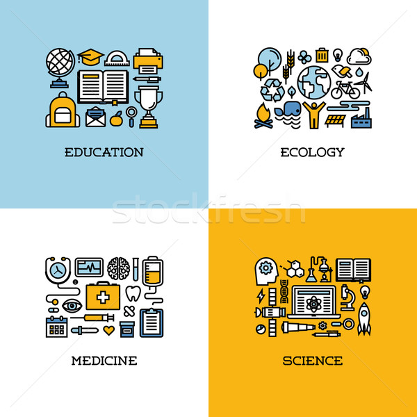 Flat line icons set of education, ecology, medicine, science Stock photo © ussr