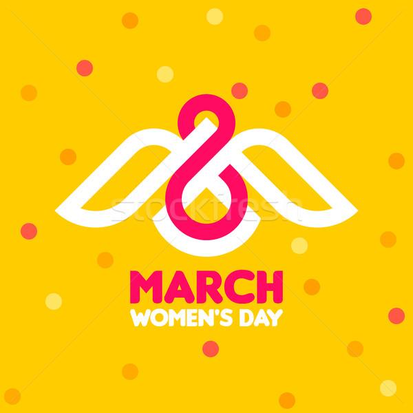 Día de la mujer tarjeta de felicitación blanco aves número ocho Foto stock © ussr
