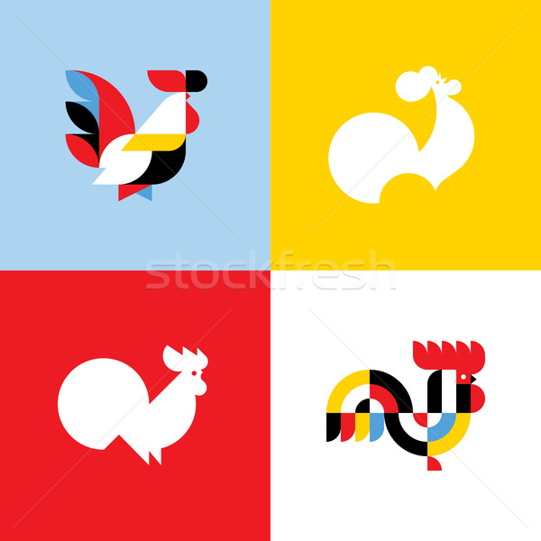 Rooster. Elegant flat vector logo templates or icons of cock silhouettes Stock photo © ussr
