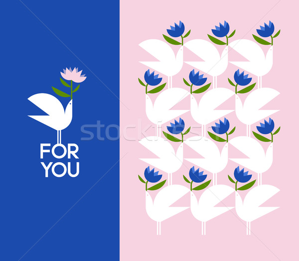элегантный птица завода декоративный цветочный Сток-фото © ussr