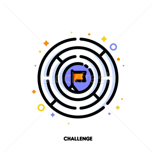 Icon of round labyrinth or maze for business challenge concept Stock photo © ussr