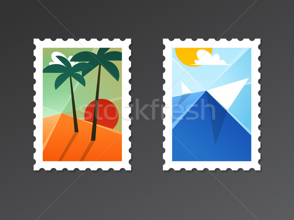 Travel and tourism backgrounds with palms on beach and seascape Stock photo © ussr