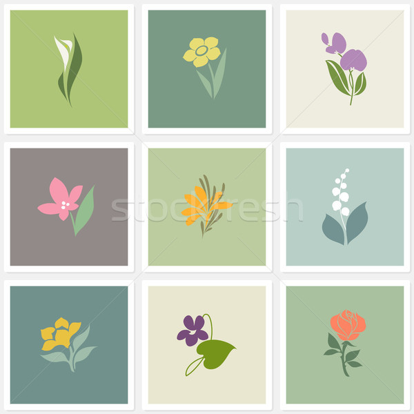 Flower. Vector logo templates set. Elements for design.  Stock photo © ussr